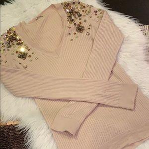 MIU MIU Blush Nude Knit V-Neck Pullover Sweater